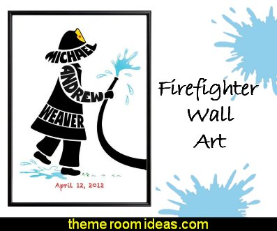 firefighter Personalized Little Boy Fireman Print  Firefighter Wall Art, Fireman Nursery Decor