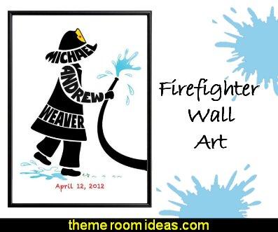 firefighter Personalized Little Boy Fireman Print  Firefighter Wall Art, Fireman Nursery Decor