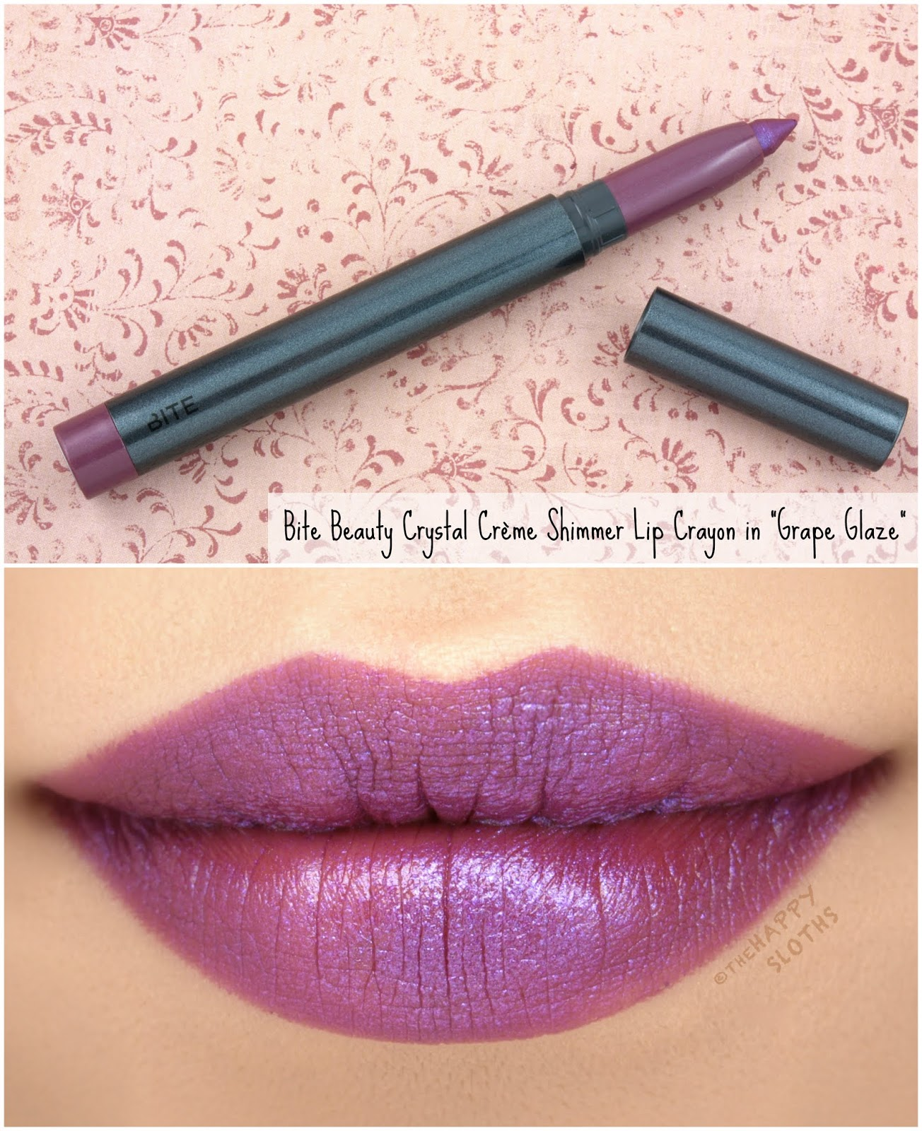 "Bite Beauty | Crystal Crème Shimmer Lip Crayon in ""Grape Glaze"": Review and Swatches"