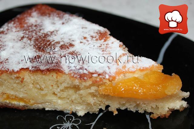 рецепт как приготовить вкусный пирог бисквит с персиком и творогом
