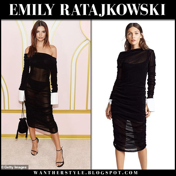 Emily Ratajkowski in sheer black midi dress jourden emmy after party 2018 fashion