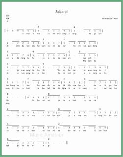 not angka lagu sabarai lagu daerah kalimantan timur