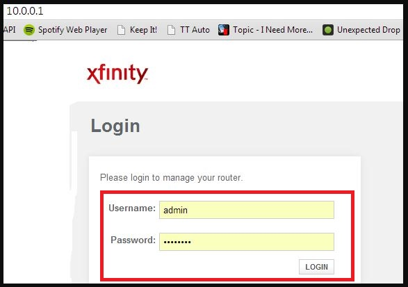 xfinity router login password