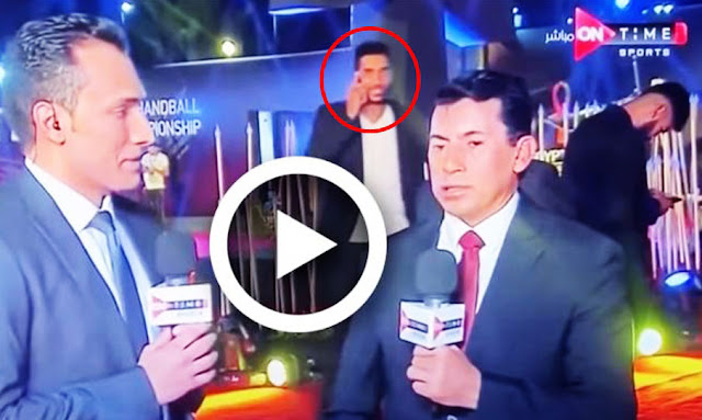 On the air .. the Zamalek player slaps the Al-Ahly goalkeeper at the World Cup draw ceremony