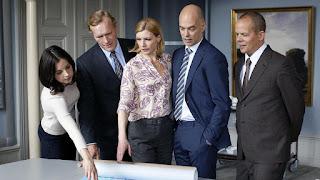 Louise Peterhoff (Elin hammar), Sven Nordin (Gunnar Elvestad), Cecilia Frode (Rebecka Lundström), Niklas Hjulström (Statsministern) och Daniel Larsson (Ludwig Biehlers)