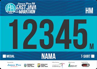 Nomor Dada BIB T-Shirt Jawa Post Fit East Java Half Marathon 2016 Surabaya