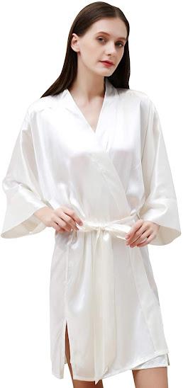 Women's White Silk Robes