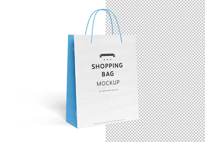 Blank CutOut White Shopping Bag PSD Mockup