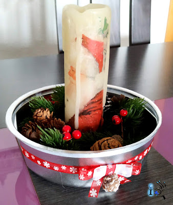 Decoupage en vela y centro de mesa navideño Ideadoamano