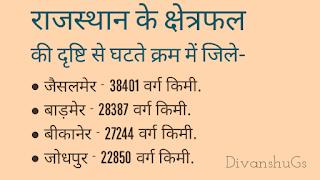राजस्थान के क्षेत्रफल की दृष्टि से घटते क्रम में जिले