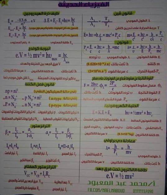 ملخص بسيط - قوانين الفيزياء للصف الثالث الثانوي في 10 ورقات - صفحة 2 4