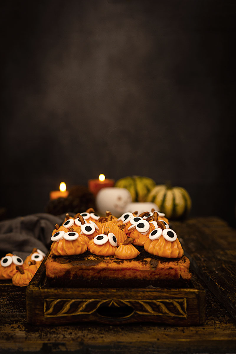 BROWNIE Y CHEESECAKE DE CALABAZA PARA HALLOWEEN