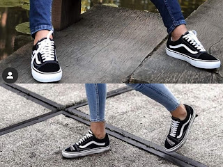 Black sneaker with horizontal stripes