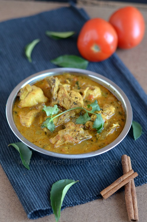 Chicken curry made without coconut and grinding masala
