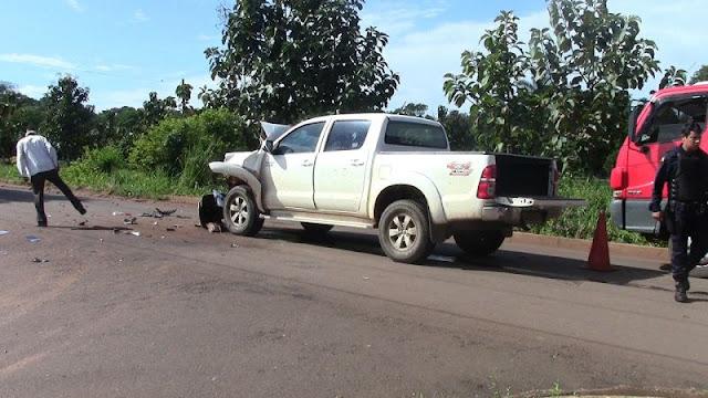 Vilolento! Caminhão-tanque e caminhonete se chocam em Rolim de Moura