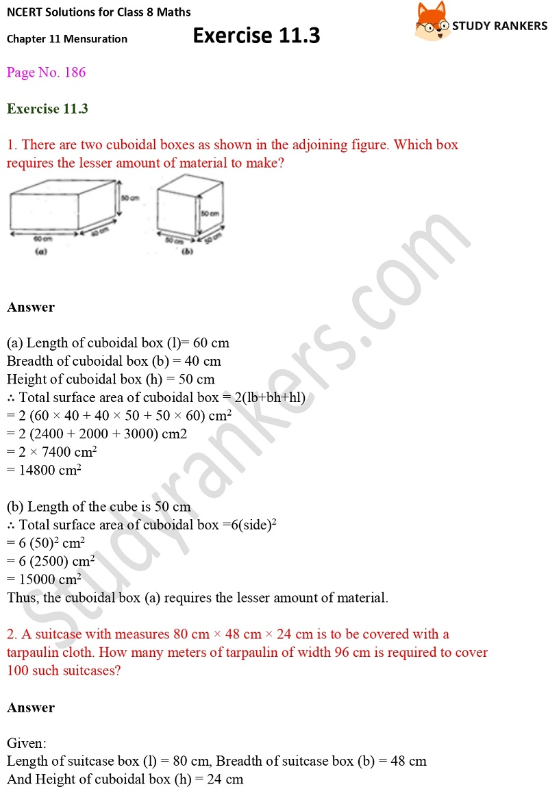 NCERT Solutions for Class 8 Maths Ch 11 Mensuration Exercise 11.3 1