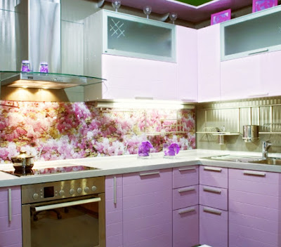 floral kitchen backsplash design with 3D glass panel
