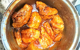gluten free fried chicken tossed in homemade bbq sauce