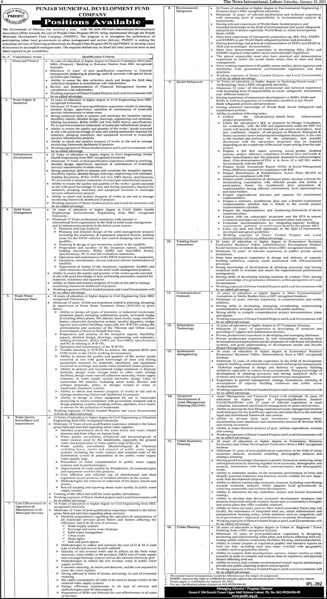 Latest Punjab Municipal Development Fund Company (PMDFC) Jobs 2021
