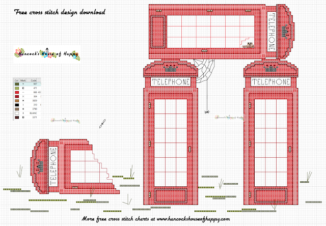 Iconic Red British Phone Booth Cross Stitch Pattern Free to Download