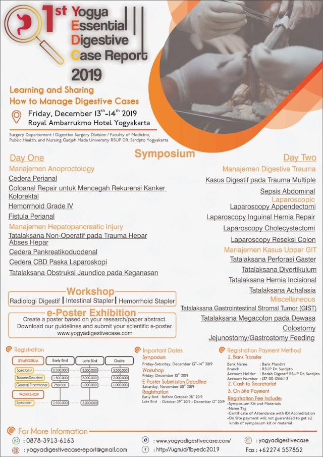 1st Yogya Essential Digestive Case Report will be held on 13-14 December 2019 @ Royal Ambarrukmo Hotel Yogyakarta