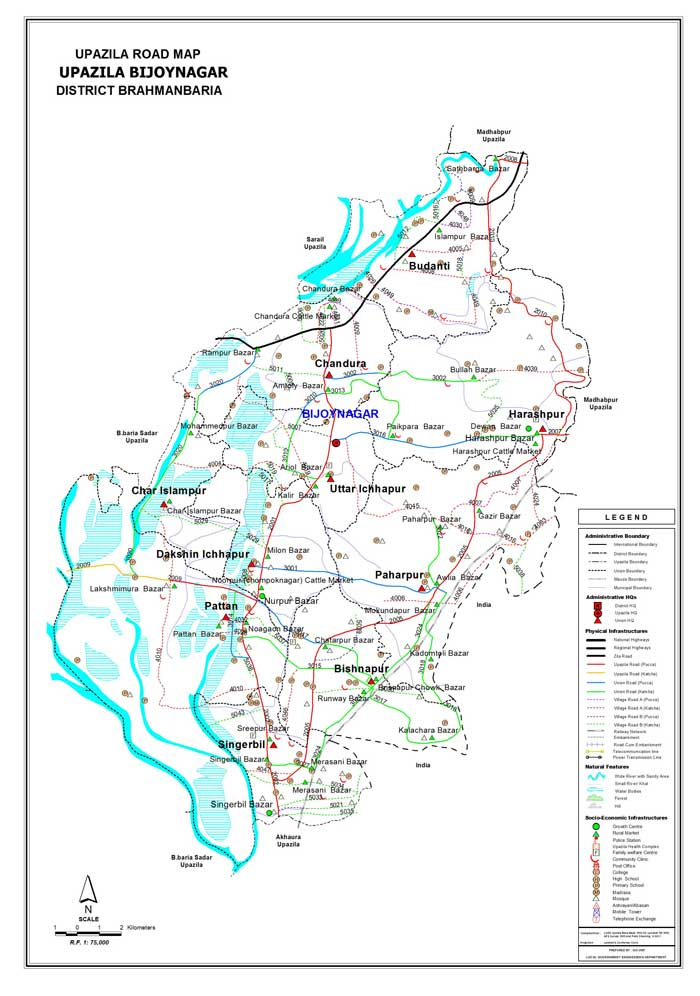 Bijoynagar Upazila Road Map Brahmanbaria District Bangladesh