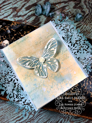 Sizzix Olivia Rose Foliage Wrap Tim Holtz Scribbly Butterfly Wrapped Card for The Funkie Junkie Boutique by Sara Emily Barker 6