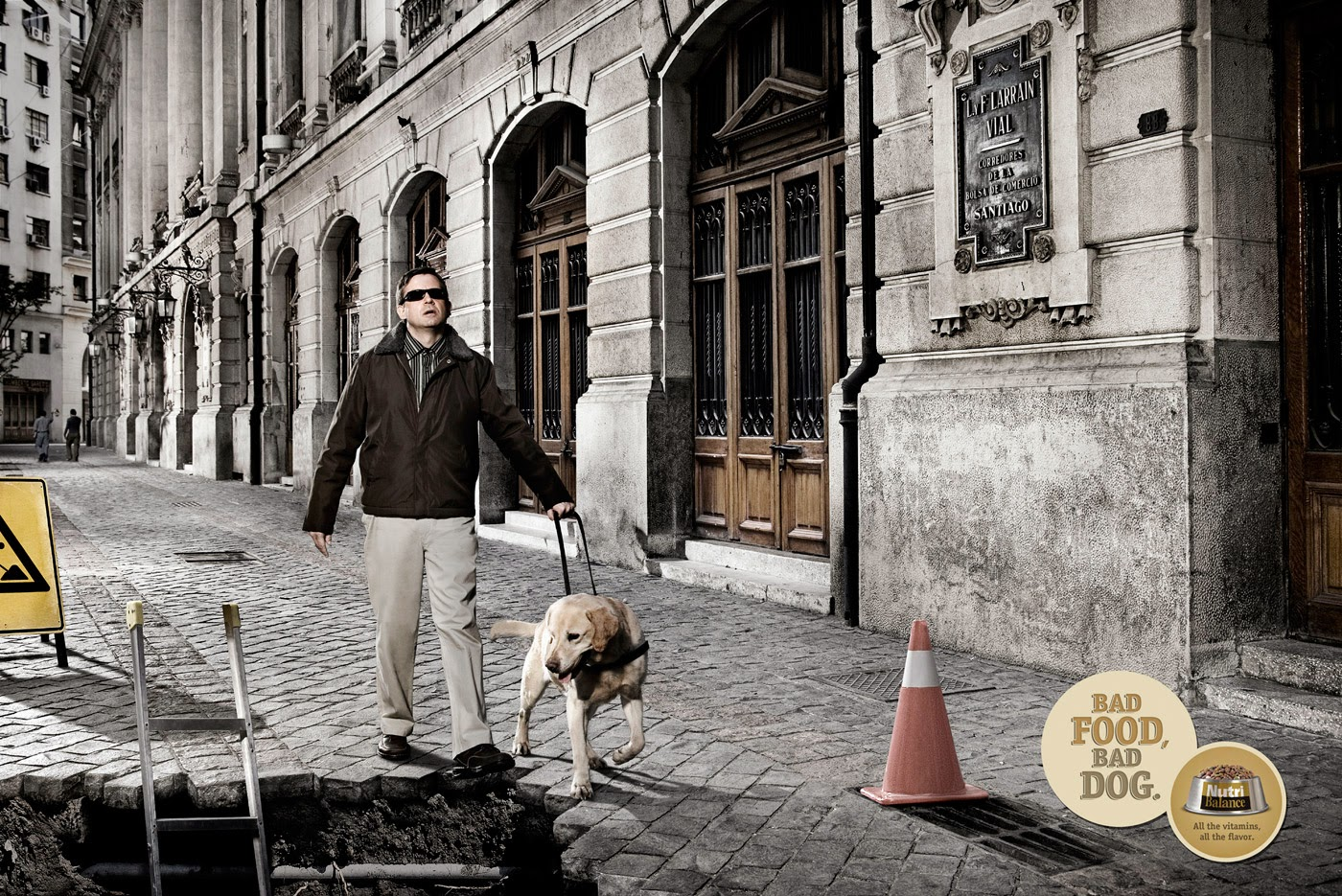 Funny advert Nutri Balance - Blind guide dog joke picture