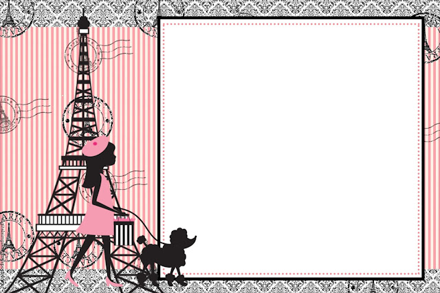 Beautiful Paris Free Primtable Invitations, Card or Photo Frame.