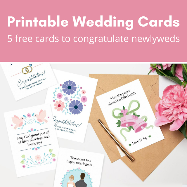 Printable Wedding Cards: 5 free cards to congratulate newlyweds
