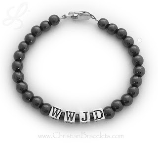Magnetic Hematite WWJD Bracelet with a Lobster Claw Clasp.