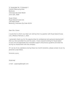 Employee Retirement Letter Sample