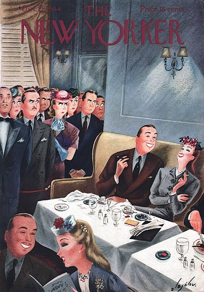 a Constantin Alajalov illustration for The New Yorker Magazine October 1944, lingering diners irritate others waiting to be seated at a table