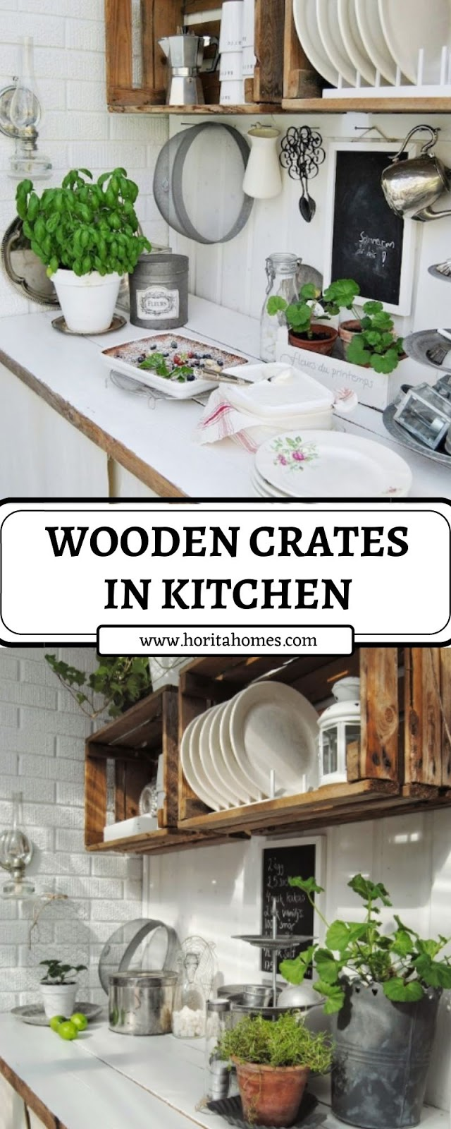 WOODEN CRATES IN KITCHEN
