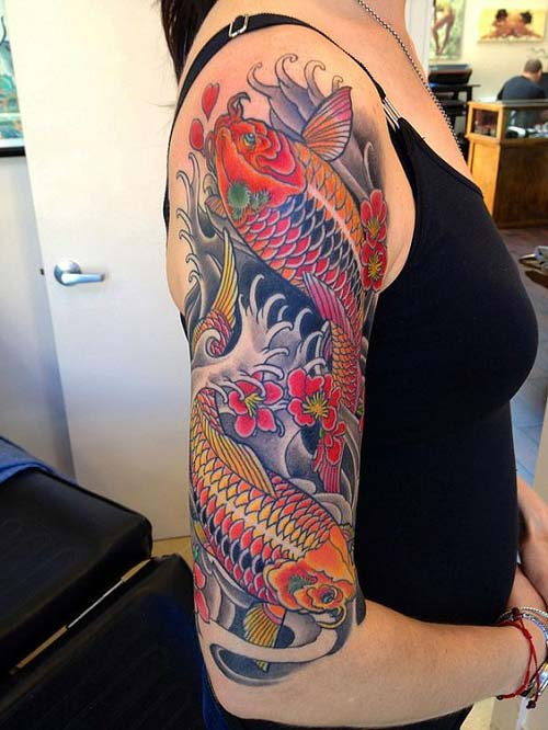 woman arm koi fish tattoos koi balığı dövmeleri