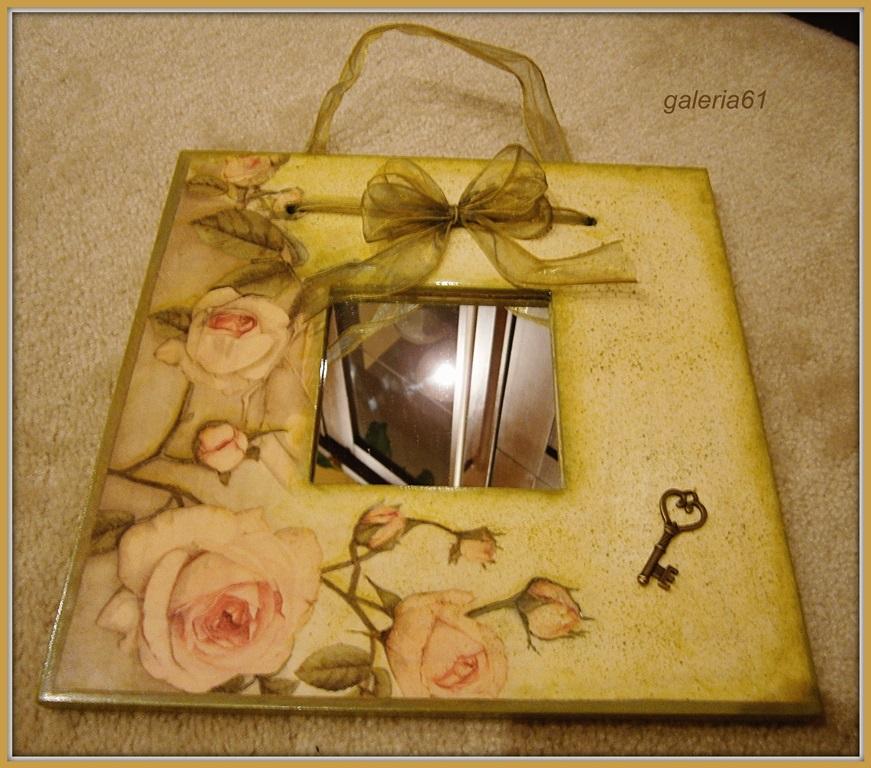 lustro decoupage, róże, kokarda, klucz