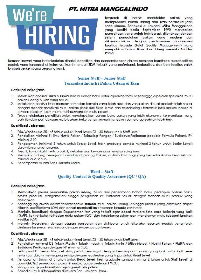 Lowongan Kerja PT Mitra Manggalindo Muara Baru Jakarta Utara