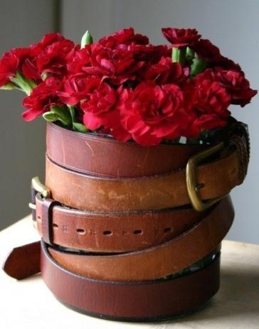 Como hacer un Florero. Reciclando Cinturones