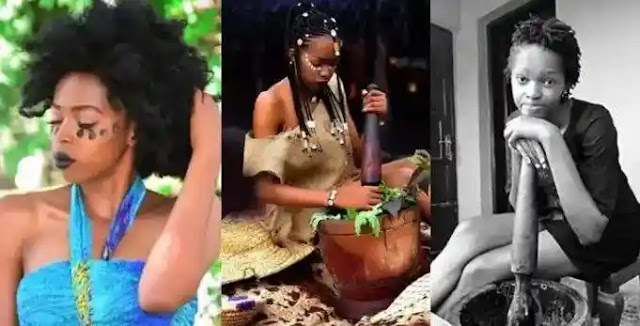 Female Nigerian graduate dumps her certificate to become a Native doctor (Photos)