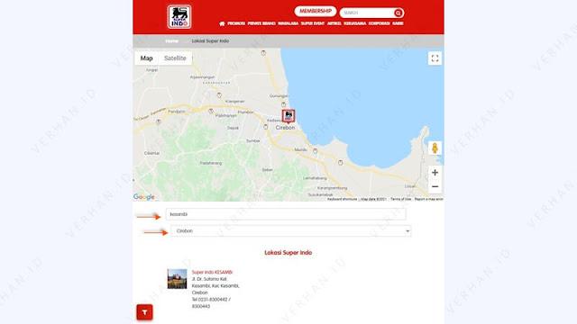 cek lokasi super indo terdekat via web