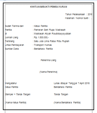 Format Kwitansi Untuk Laporan Pertanggung Jawaban