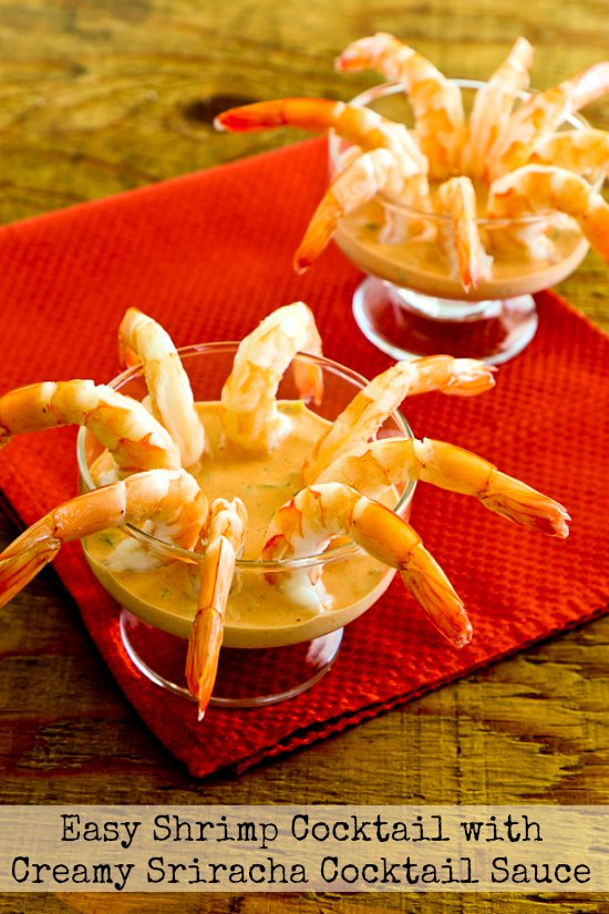 Easy Shrimp Cocktail with Creamy Sriracha Cocktail Sauce found on KalynsKitchen.com