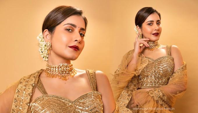Raashi Khanna in Golden Lehenga Pics HD Wallpaper   PicsHitz