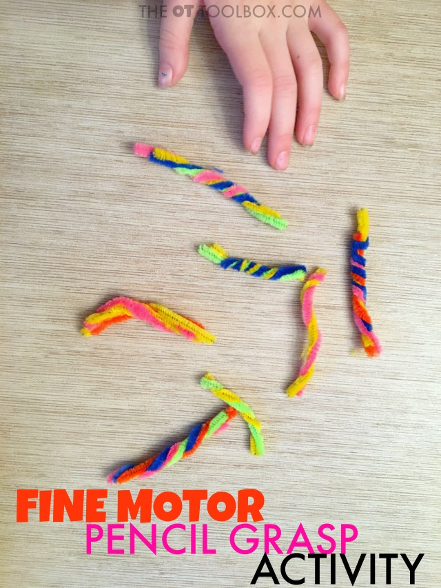Use this fine motor strength pipe cleaner activity to help kids develop hand strength and the skills needed for a functional pencil grasp.