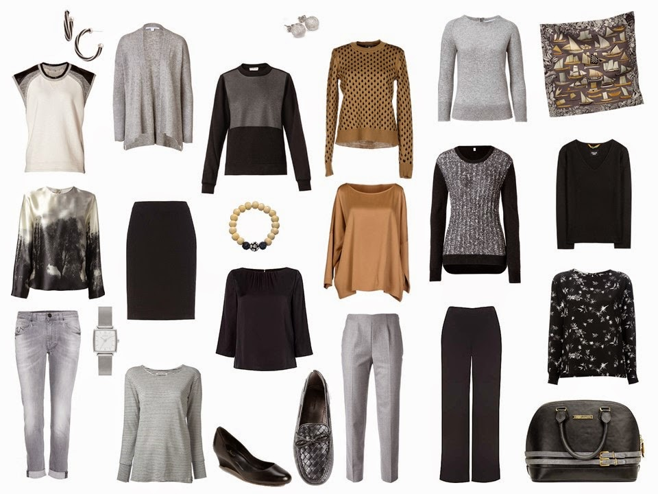 A Four By Four Capsule Wardrobe In Black Grey Camel And