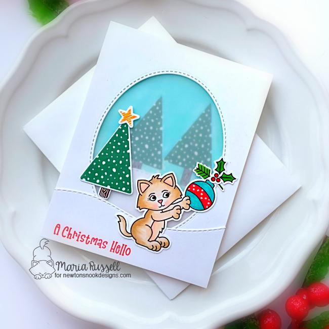 Kitten Christmas card by Maria Russell | A Kitten Christmas Stamp Set and Festive Forest Stamp Set by Newton's Nook Designs #newtonsnook #handmade