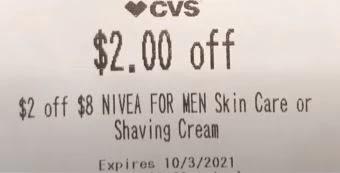 $2.00/$8.00 any NIVEA MEN shave care CVS crt store Coupon (Select CVS Couponers)