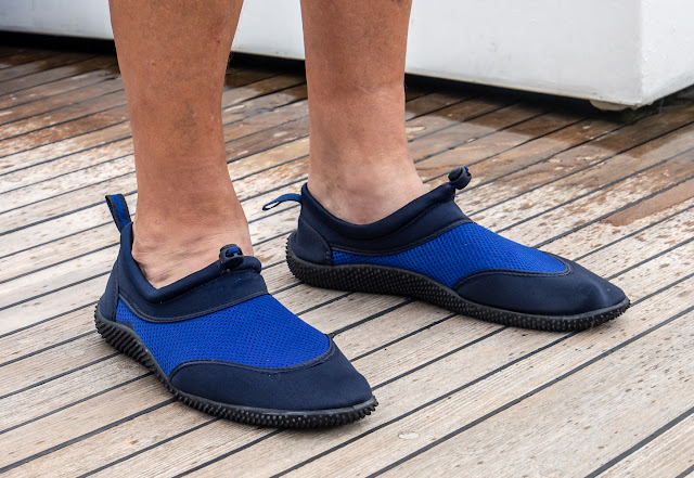 Photo of Phil's aqua shoes from the local Lidl store