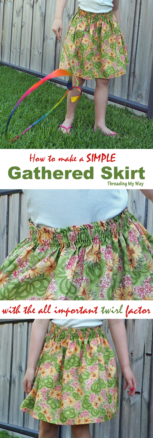 Learn how to sew a simple gathered skirt. Measurements provided for ages 2 - 5. Tutorial shows how to work with your own measurements ~Threading My Way