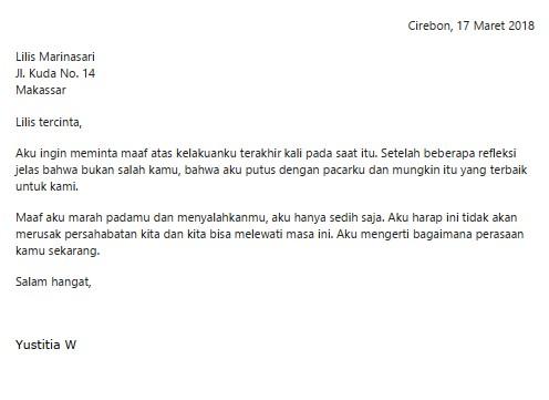 Contoh Surat Pribadi untuk Teman Sekelas (via: suratresmi.id)